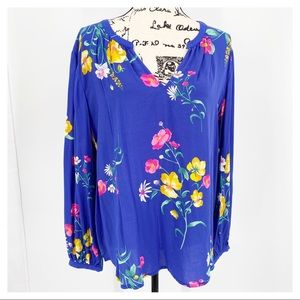 Old Navy Bright Blue Floral Print Blouse NWT L